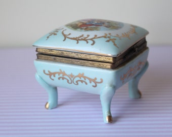 Norleans Made in Japan Porcelain Trinket Jewelry Box 1950s