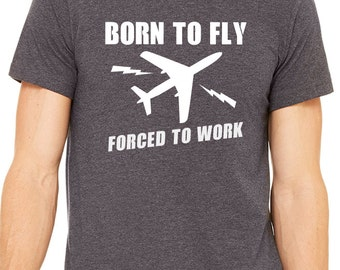 Born To Fly - Pilot Tshirt - Sky Diving tee - Sports gift Airplane tee for Dad Mom Auntie Uncle Grandpa Grandma