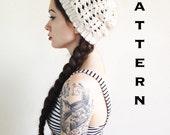 PDF PATTERN - The Henrietta Beanie - Slouchy Hat Slouch Crochet Mod Boho Chic Womens Ecru Hipster