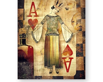 """Pop Art Print, Ace of Hearts, Shabby Chic, Wall Decor, Decorative Art, """"A Lovely Place To Be"""""""
