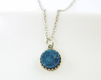 Silver Blue Druzy Necklace, Titanium Druzy Necklace, Blue Drusy Pendant Necklace, Silver Crown Setting Necklace Blue Drusy Jewelry |NC1-5
