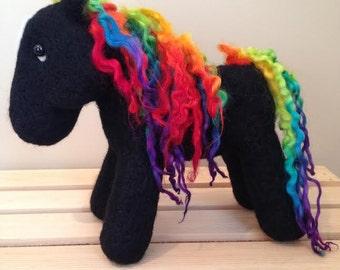 Needle Felted Rainbow Pony