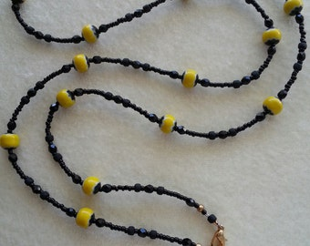 """ID Lanyard, Name-tag Holder, Necklace. 29.5"""" with 3"""" Detachable Clasp.  Yellow & Black Lampwork Beads.  34.5"""" with Detachable Clasp"""