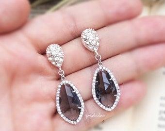 Gray Wedding Earrings for Bride Black Grey Sterling Silver Charcoal Glass Drop Dangling Cubic Zirconia Crystal Dangle Bridal Earrings