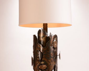 Tom Greene Attributed Mid Century Brutalist Brass and Bronze Table Lamp with Custom Shade