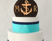 Nautical Anchor Wedding Cake Topper, rustic and natural burned wood with personalized letters