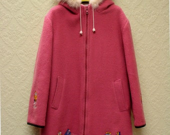 vintage Pink Eskimo Parka Inuit wool lARGE  or Extra Large size with white fox fur trim embroidered zip up Hooded Coat
