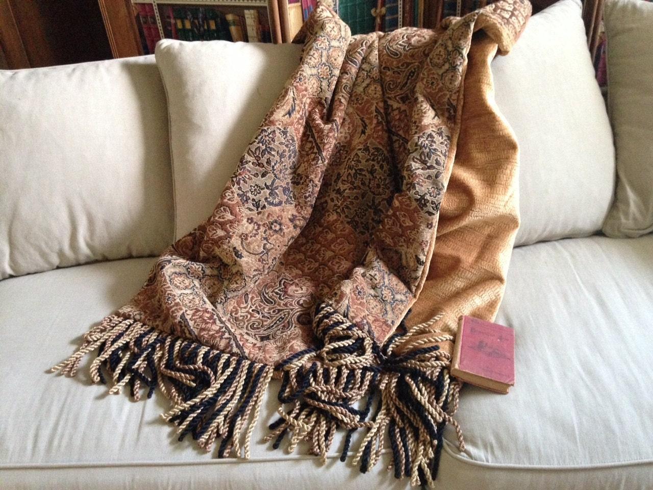 Plush Moroccan Chenille Throw Blanket Black Gold Bronze One