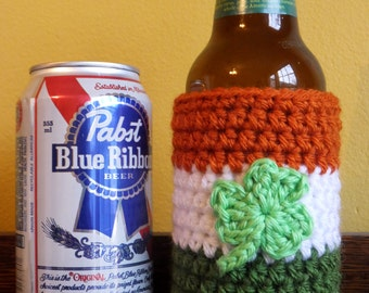 Irish flag beer cozy / cover, hand crocheted. Fits bottles and cans. Happy St. Patricks Day.