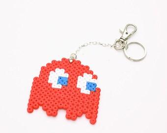 Red Ghost keychain - Pixel hama perler bead gamer trinket, nerdy, geeky, fanart, LARGE