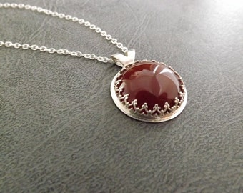 Carnelian Pendant - One of A Kind Handcrafted Jewelry - Round Red Cabochon Necklace