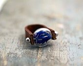 SALE 40% OFF: Genuine leather ring with real cornflowers. Brown leather, glass lense with blue cornflowers. Adjustable. Nature jewelry
