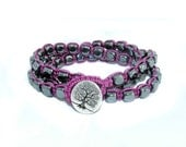 Magenetic hematite cube, purple, tree of life  macrame triple wrap bracelet, doubled anklet, or necklace