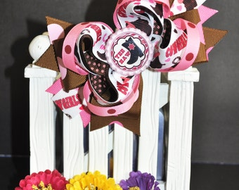 CowGirls cute bow for babies, toddlers and big girls ~ Bow measures approximately 5.5 inches