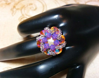 The Abby- Cyclamen Opal, Topaz and Purple Velvet Swarovski Crystal Star Burst Ring with Elastic Band