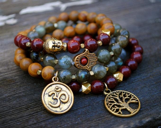 ZEN YOGA Bracelet Set - Jasper, Labradorite, Tree of Life, OM, Buddha, Hamsa