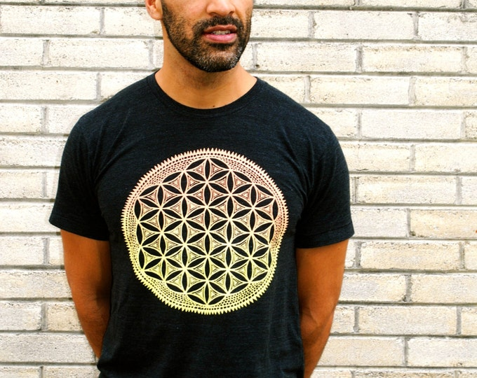 FLOWER of LIFE Sunset Ombre Tri-Blend Tee