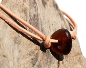 Hawaiian Amber Brown Beach Glass on India Leather Cord Completely Adjustable & Stackable Bracelet