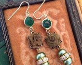 Antique  Rhinestone assemblage earrings, with green accents