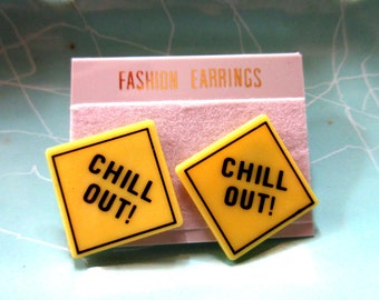"""1980's Earrings Yelllow Traffic Sign """"Chill Out"""" 1980s Costume Accessories never worn Meditation costume jewelry throwback thursday"""