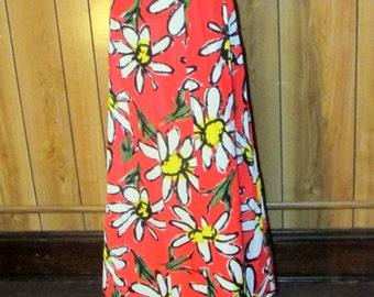 On Sale-RETRO 1960's DAISY Print MAXI Skirt