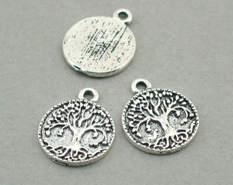 Tree of Life round disc Charms Antique Silver 4pcs base metal pendant beads 17mm CM0783S