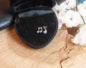 Two Pairs Tiny Music Notes Stud Earrings, 2 Earring Sets, Wear One of Each, or Wear Single Note, or Wear as 2 Note