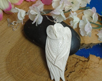 Sale - Owl Buffalo Bone Necklace,  Hand Carved Owl, Wise Owl Necklace