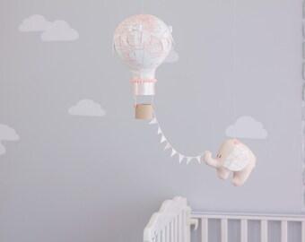 Hot Air Balloon Baby Mobile, Elephant Mobile, Travel Theme Nursery Decor, i37