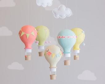 Colorful Hot Air Balloon, Baby Mobile, Travel Theme, Nursery Decor, Custom Nursery Decor, Personalized, i22