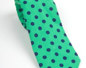 Mens Necktie,  green and navy tie, green necktie, men's green tie, adult tie, green polka dot tie, emerald and navy, emerald tie, grooms tie