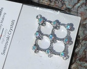 CLEARANCE Swarovski AB Crystals in Silver Plated Pewter, Diamond Shaped Pendant, Elegant Colors, DIY Beading