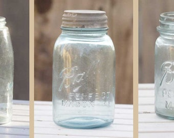 3 Blue Ball Perfect Mason Jars (Zinc Lid) Vintage NICE condition ALL different