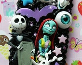 cutekawaii 'Nightmare before Xmas Jack n Sally' Whipped Cream Frosting Kawaii Decoden Phone Case - ANY PHONE MODEL - please read description