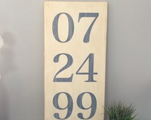 Hand Painted Anniversary Date Sign.  Distressed Painted Sign. Custom Sign. Wedding Date. Wood Sign.