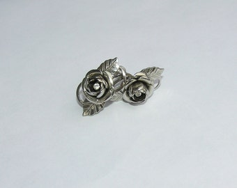 Gorgeous Vintage Silver Rose and Rhinestone Earrings-Gift box included!
