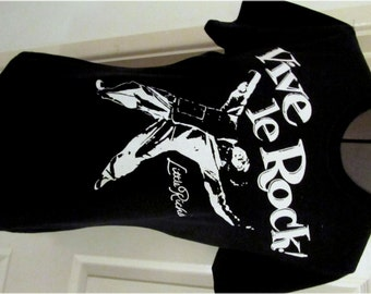 "Vive Le Rock - Little Richard - Punk T-shirt - Black -Navy - womens - 32-34"" chest -skinny fit -tshirt -Seditionaries"