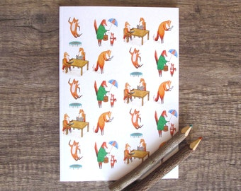 Fox Notebook, sketchbook, jotter, notepad, doodle pad, illustrated notebook.