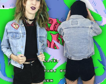 90s Denim Jacket With Lots of Patches / Butterfly / Daisy / Grunge / Clarissa / Clueless / Spice Girls /