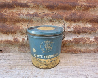 Vintage Metal Can White Champion Pure Lard Blue and Aged White General Store Item Bucket Display Rustic Primitive Country Kitchen vtg