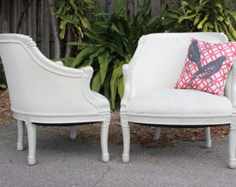 Pair Mid Century Cream Chairs