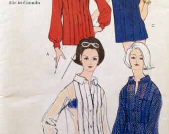 "Vintage 1960s Vogue Misses' Overblouse Blouse Pattern 6486 Size 12 (32"" Bust)"