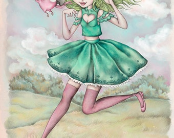 Lime Chiffon - A4 Limited Edition Fine Art Print - Inspired by Strawberry Shortcake, Eighties Cartoons, and Childhood Nostalgia