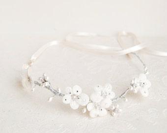 Bridal velvet flower crown, white floral headband, wedding hair wreath, crystal pearl halo, bride hair accessory - Style 321