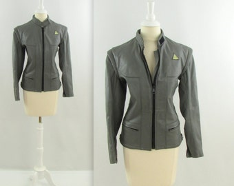 Vintage 1980s Womens Leather Motorcyle Jacket in Grey - Small by Angora