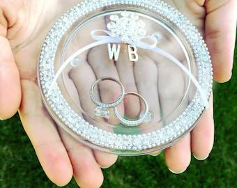 wedding ring dish / bling wedding ring holder / ring bearer dish / personalized ring bearer holder / pillow alternative / initial ring dish