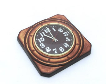 Vintage Wall Clock Ceramic, Brown shaded clock, From Germany