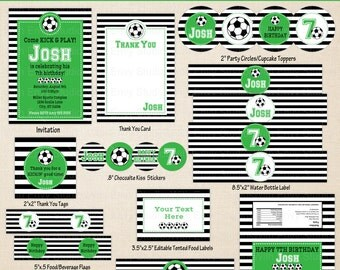 Soccer Printables - Soccer Birthday - Printable Party Set - Sports Party Kit - DIY Soccer Sports Birthday Printables