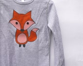 Childrens fox long-sleeve thermal top - heather grey, made with upcycled fabric applique - What does the fox say!
