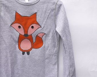SALE: Childrens fox long-sleeve thermal top - heather grey, made with upcycled fabric applique - What does the fox say!
